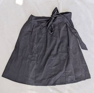 Theory Clydie Linen Black Wrap Tie Skirt